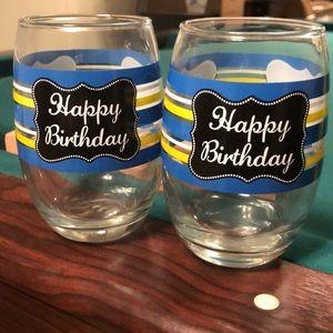 2 Happy Birthday Glasses